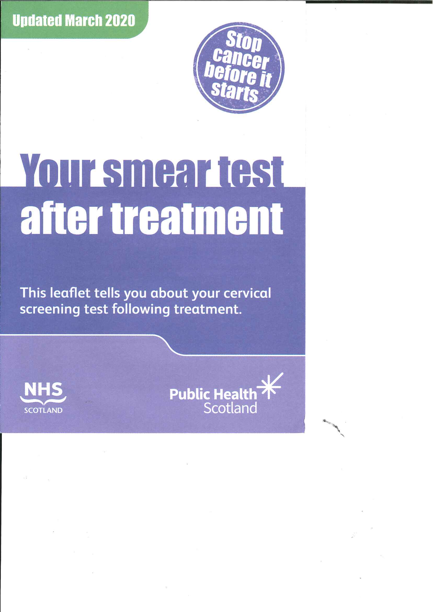 Large image for Your Smear Test After Treatment (CIN)